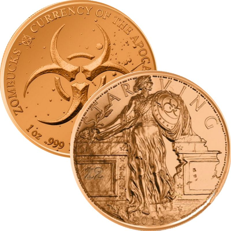 Starving Liberty 1 oz .999 Pure Copper Round (7th Design of the Zombucks Series)