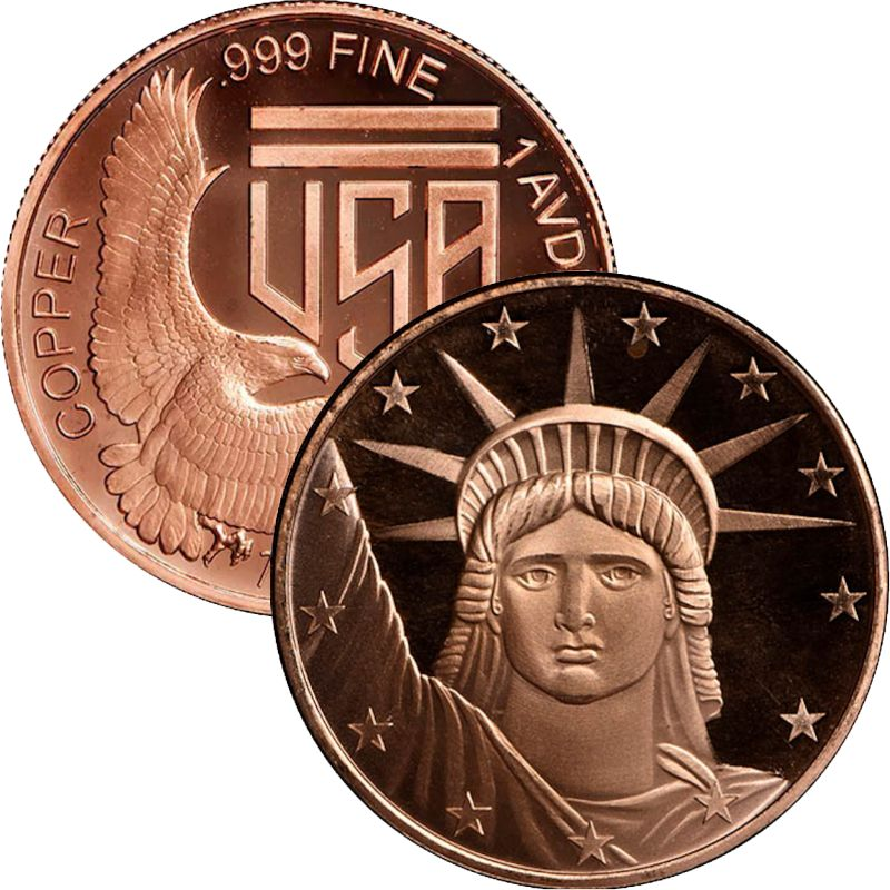 Statue Of Liberty (SilverTowne Mint) 1 oz .999 Pure Copper Round