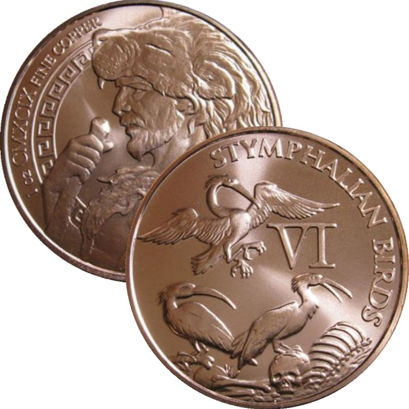 Stymphalian Birds 1 oz .999 Pure Copper Round (6th Design of the 12 Labors of Hercules Series)