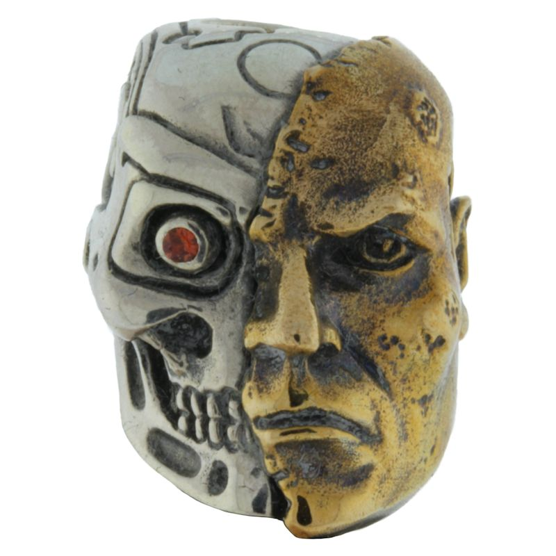 Terminator with Red Rhinestone Eye in .925 Sterling Silver and Bronze by GD Skulls