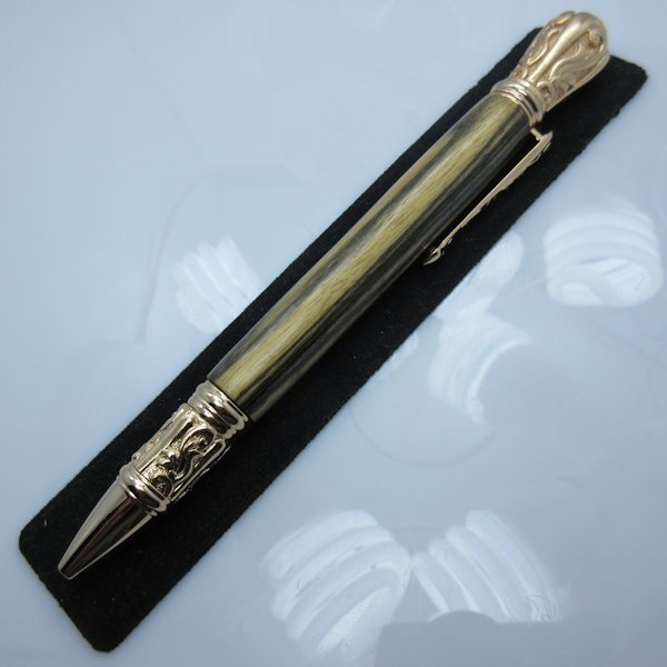 Tudor Twist Pen in (Black & White Ebony) 24kt Gold