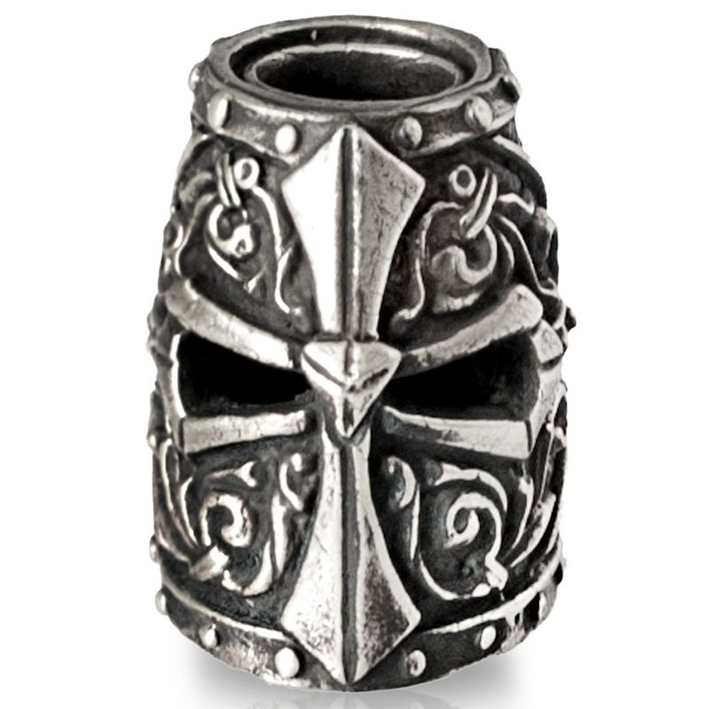 Templar Helmet Bead in Nickel Silver by Russki Designs