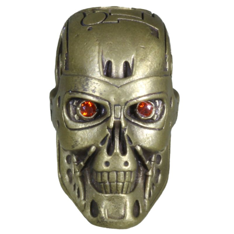 Terminator (Large) In Brass With Red Eyes By Techno Silver