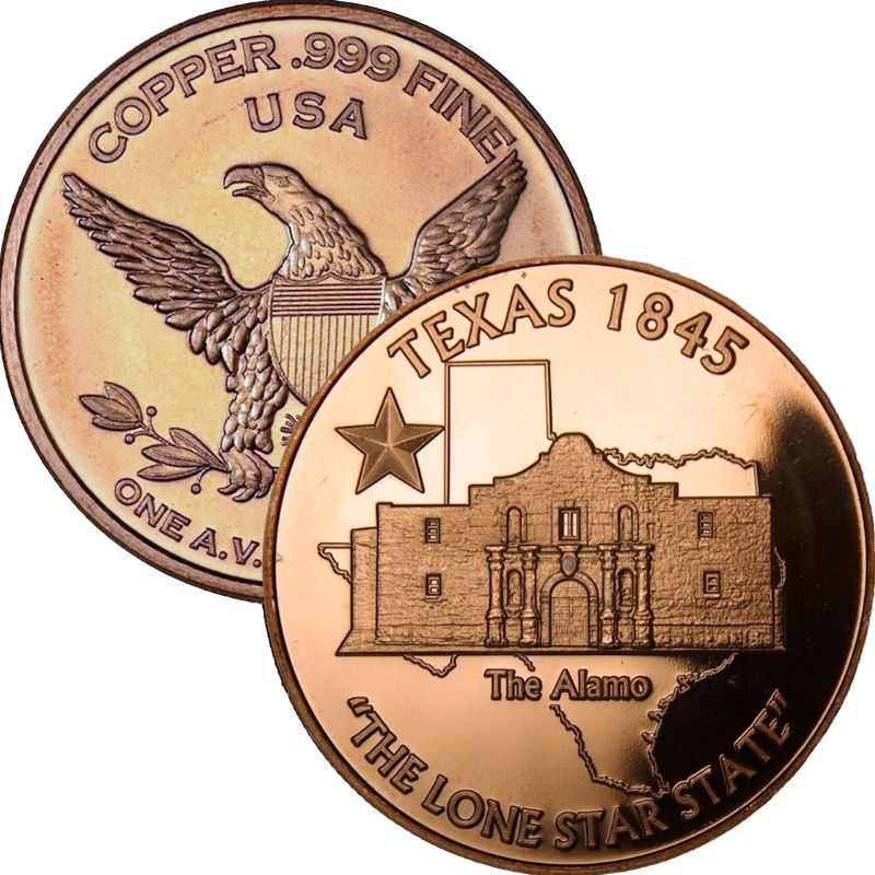 "Texas ""The Alamo"" 1 oz .999 Pure Copper Round"