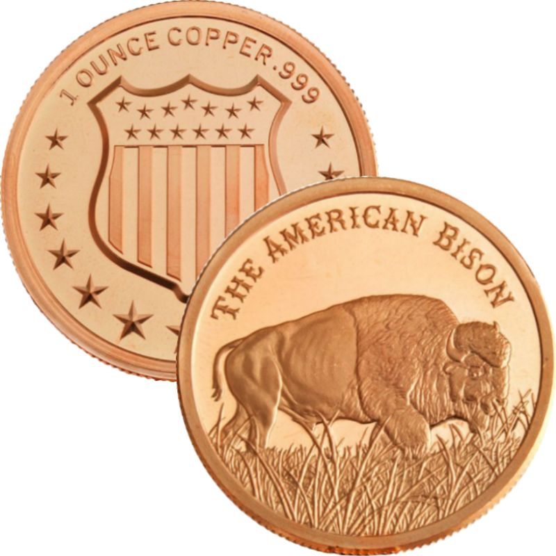 The American Bison 1 oz .999 Pure Copper Round