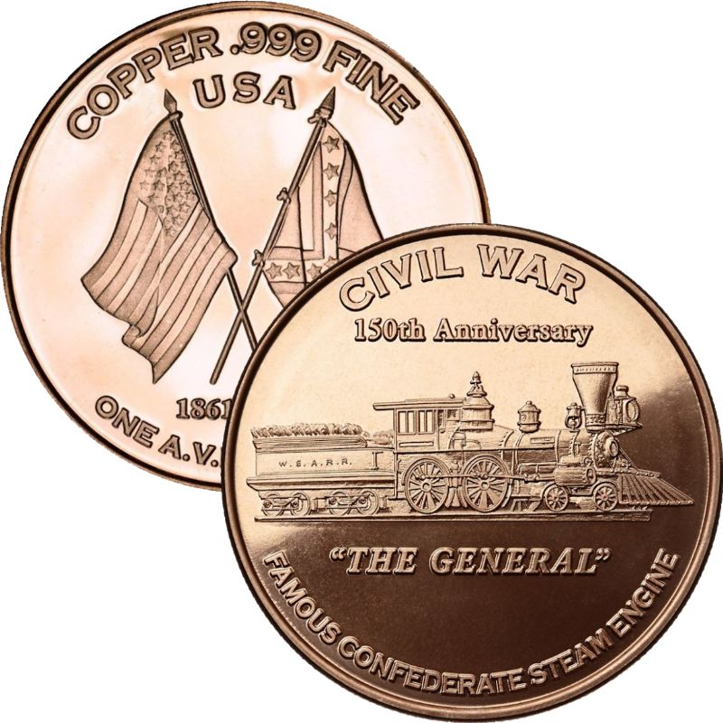 The General ~ Civil War Series 1 oz .999 Pure Copper Round