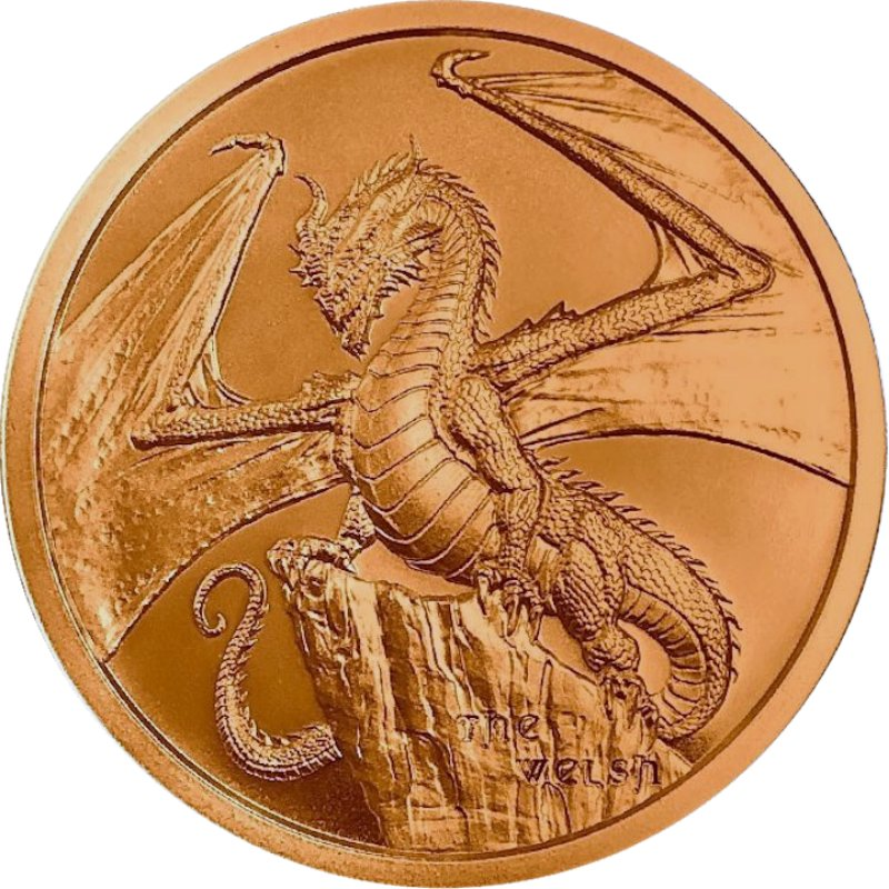 The Welsh Dragon #2 (World Of Dragons Series) 1 oz .999 Pure Copper Round