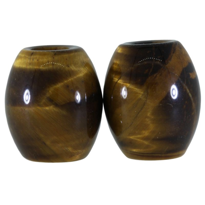 Tiger Eye (Large) Gemstone Beads (Set of 2 Beads)