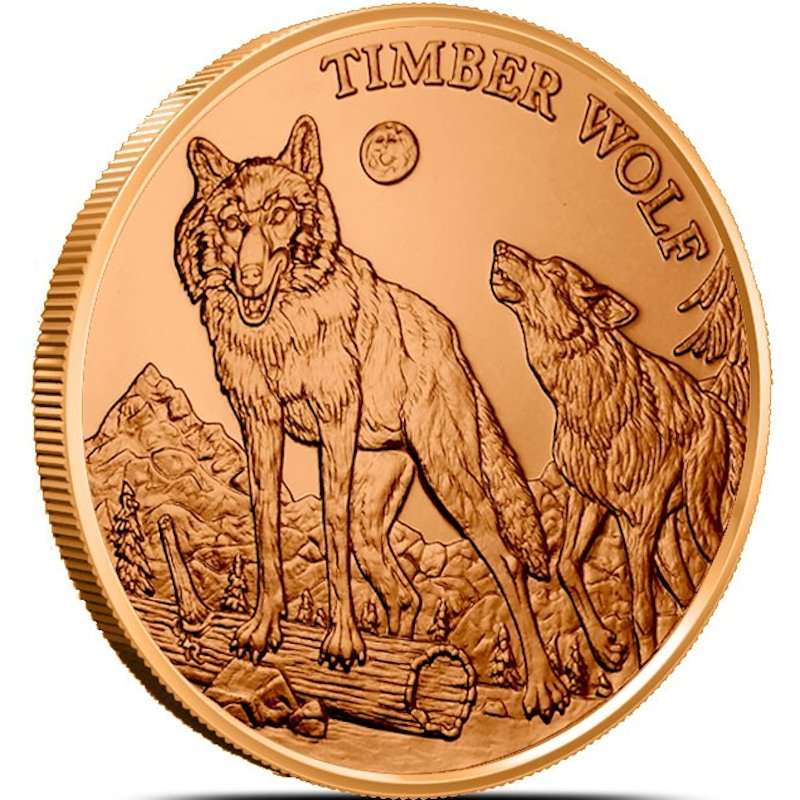 Timber Wolf (American Wildlife Series) 1 oz .999 Pure Copper Round