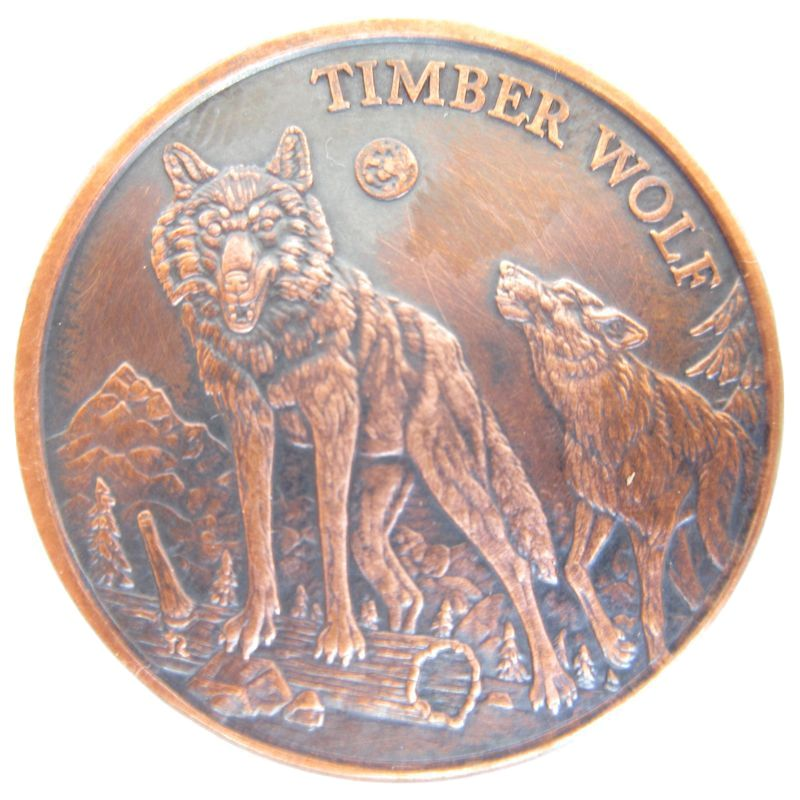 Timber Wolf (American Wildlife Series) 1 oz .999 Pure Copper Round (Black Patina)