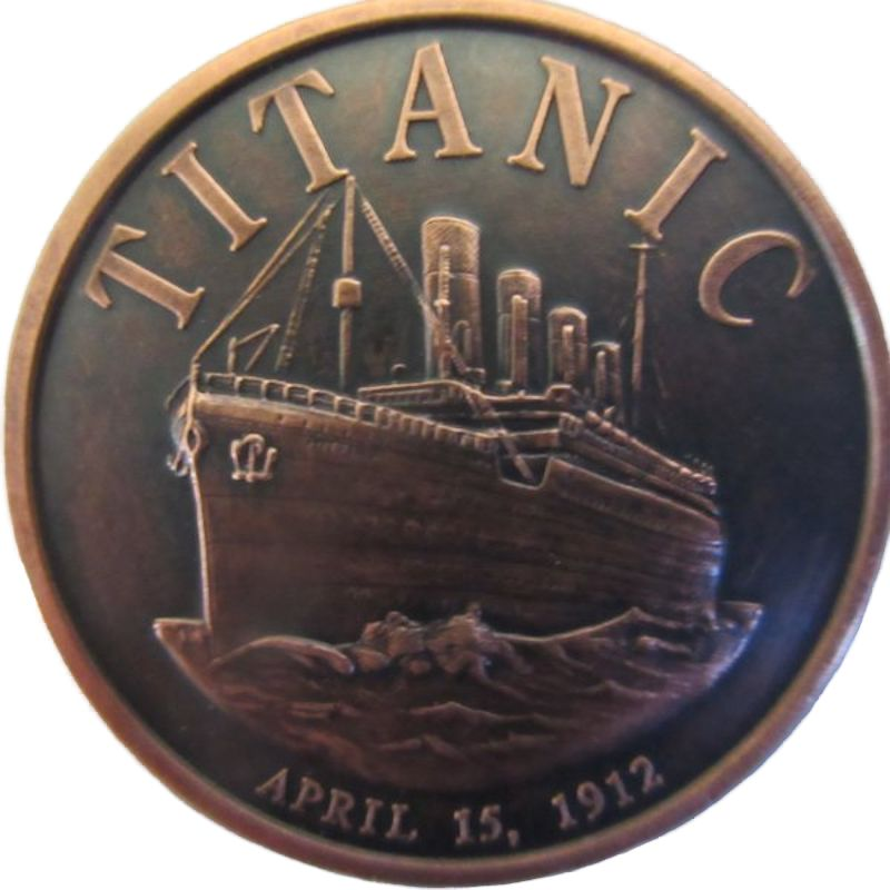 Titanic 1 oz .999 Pure Copper Round (Black Patina)