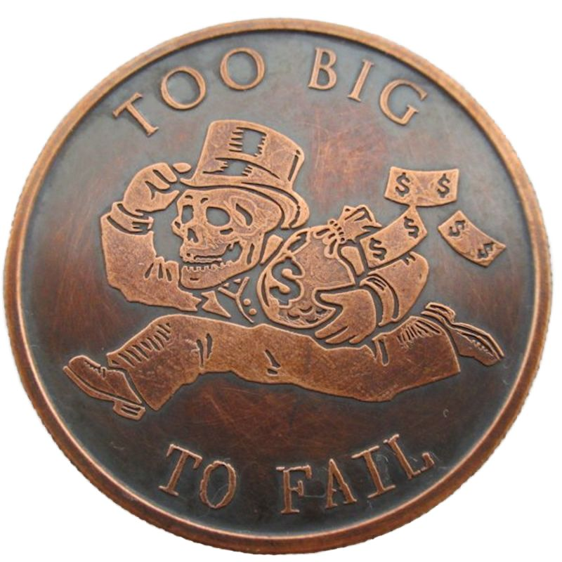 Too Big To Fail 1 oz .999 Pure Copper Round (2016 Silver Shield) (Black Patina)