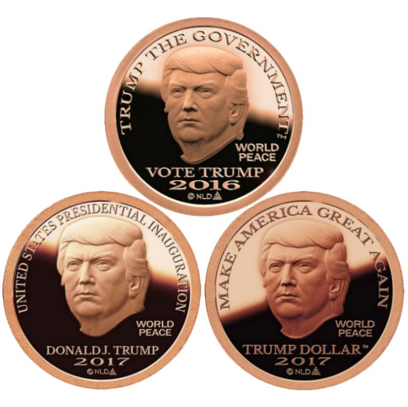 Complete Set Of All 3 Trump Dollar 1 oz .999 Pure Copper Rounds