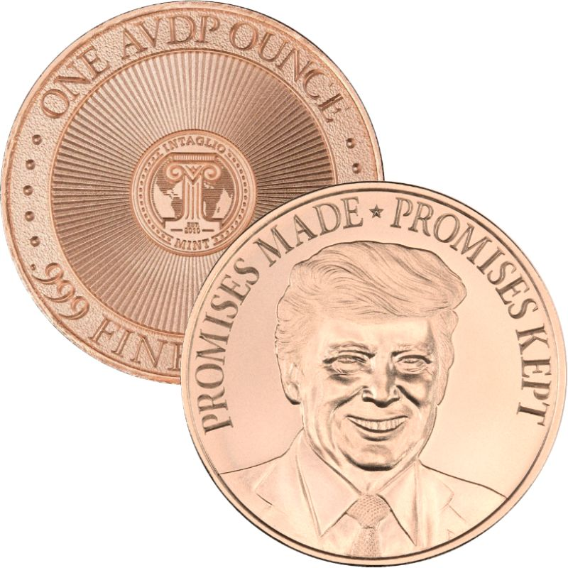 Trump ~ Promises Made * Promises Kept (Original Reverse) 1 oz .999 Pure Copper Round