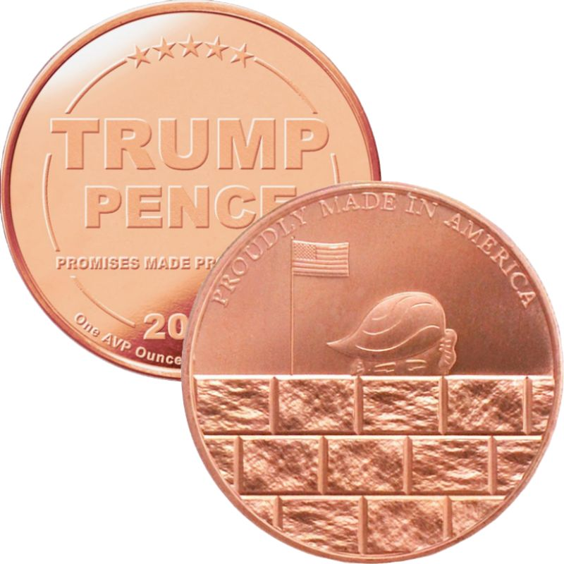 Trump ~ Build The Wall 1 oz .999 Pure Copper Round