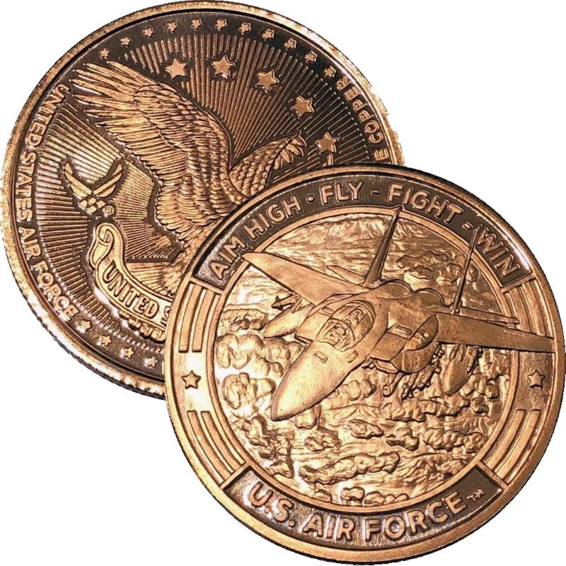 U.S. Air Force Aim High Fly - Fight - Win (Guy Harvey Design) 1 oz .999 Pure Copper Round