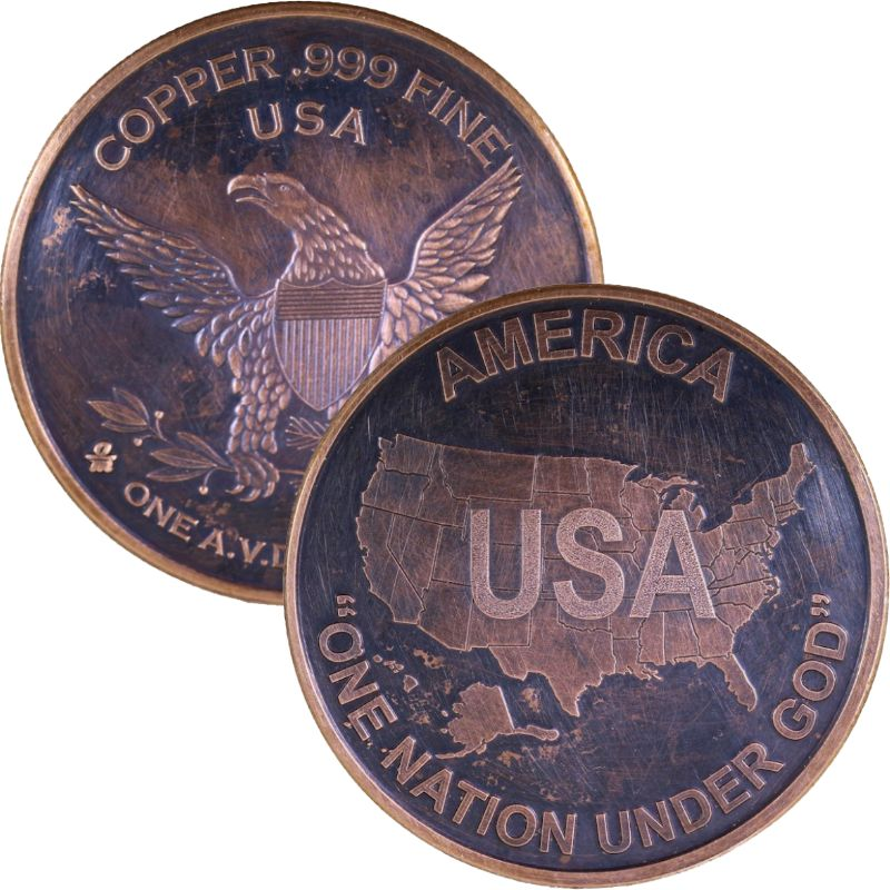 USA - America One Nation Under God 1 oz .999 Pure Copper Round (Black Patina)