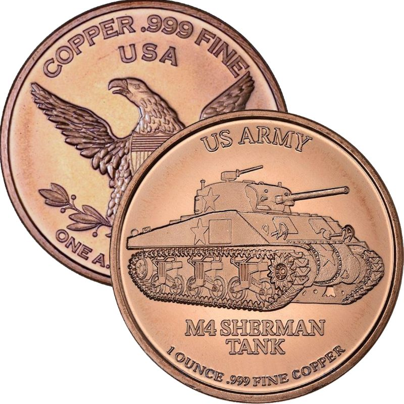 U.S. Army M4 Sherman Tank 1 oz .999 Pure Copper Round