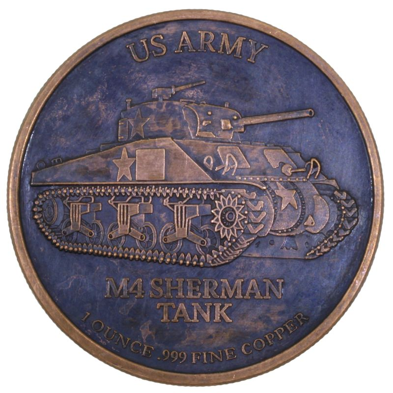U.S. Army M4 Sherman Tank 1 oz .999 Pure Copper Round (Black Patina)