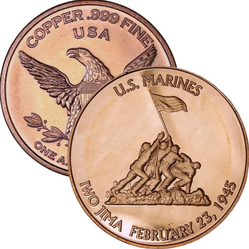 U.S. Marines Iwo Jima 1 oz .999 Pure Copper Round