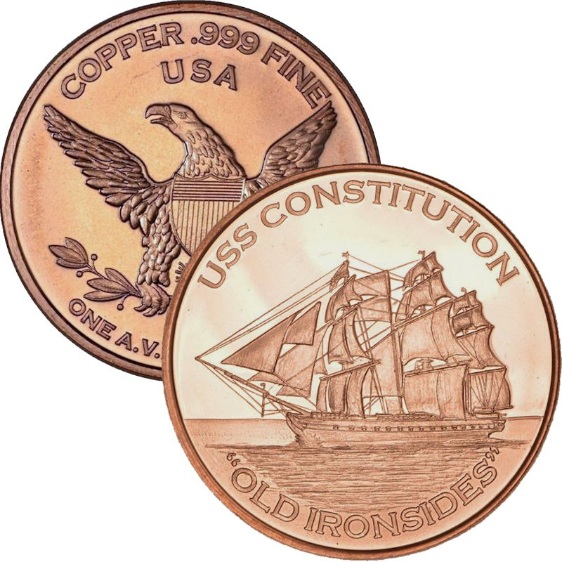 "USS Constitution ""Old Ironsides""  1 oz .999 Pure Copper Round"
