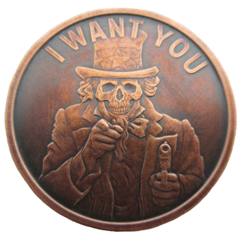 Uncle Slave (I Want You) 1 oz .999 Pure Copper Round (2016 Silver Shield) (Black Patina)