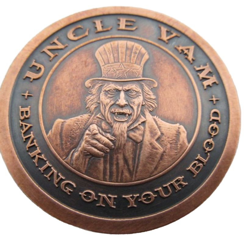 Uncle Vam 1 oz .999 Pure Copper Round (Black Patina)