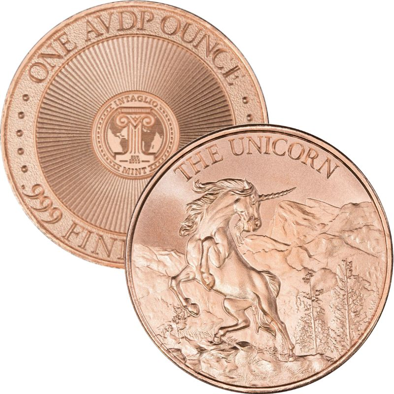 Unicorn 1 oz .999 Pure Copper Round