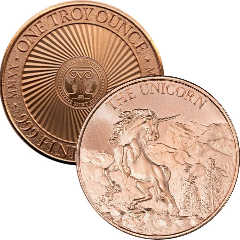 Unicorn (New Reverse) 1 oz .999 Pure Copper Round