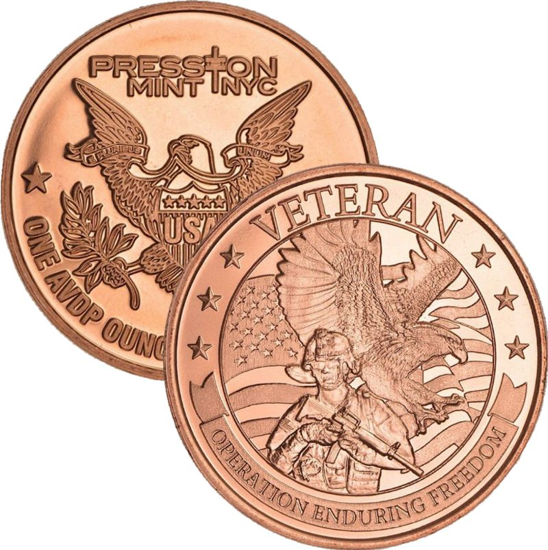 Veteran Operation (Enduring Freedom Series) 1 oz .999 Pure Copper Round (Presston Mint)