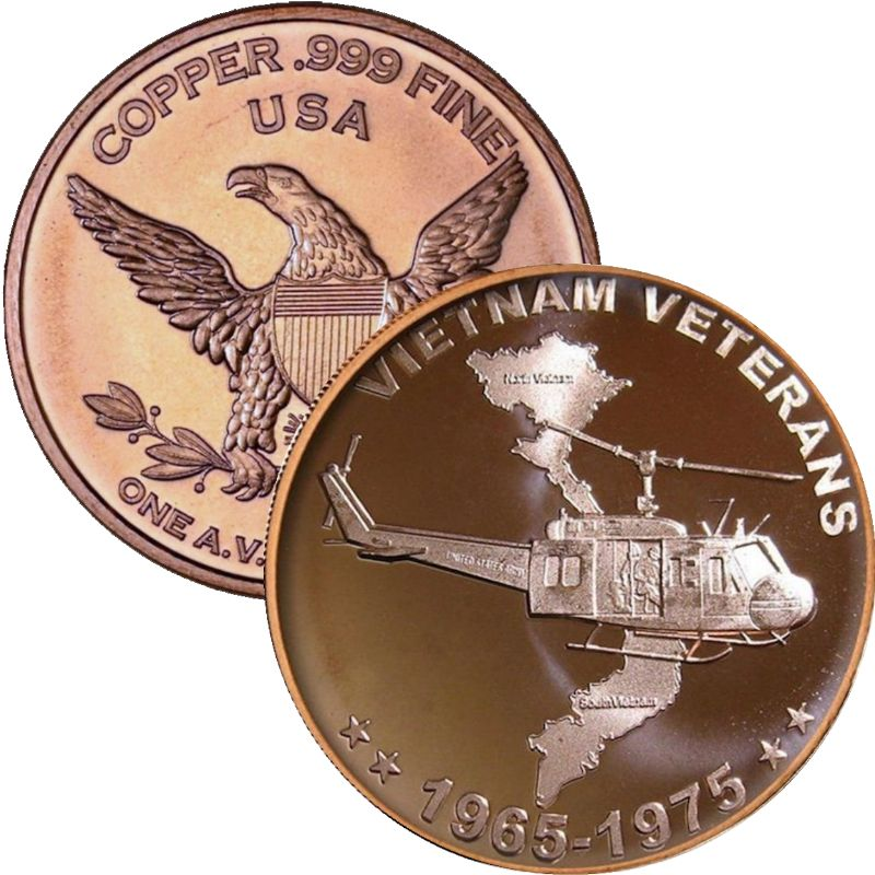 Vietnam Veterans 1 oz .999 Pure Copper Round