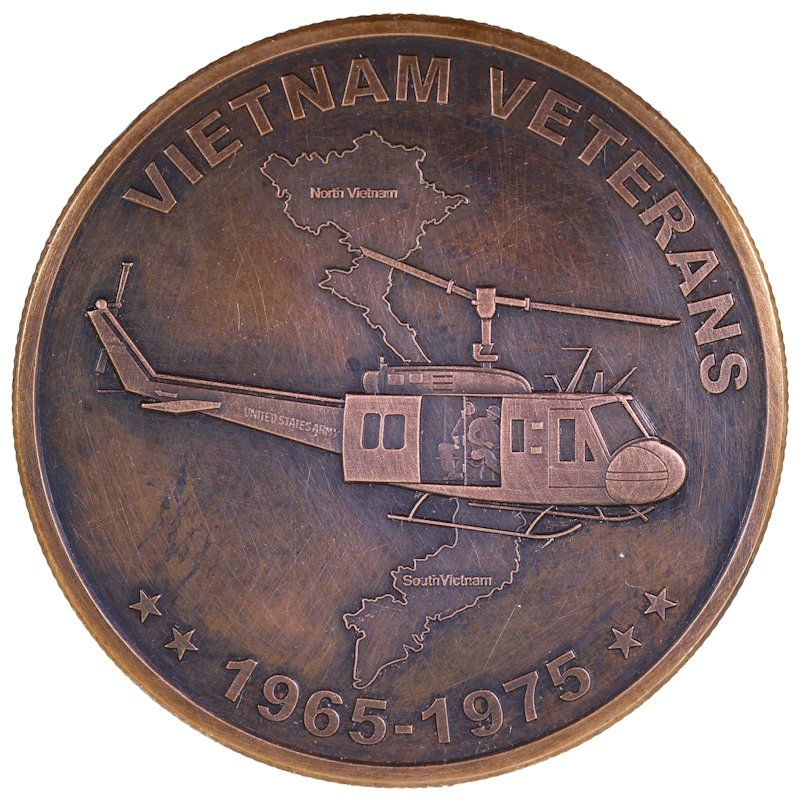 Vietnam Veterans 1 oz .999 Pure Copper Round (Black Patina)