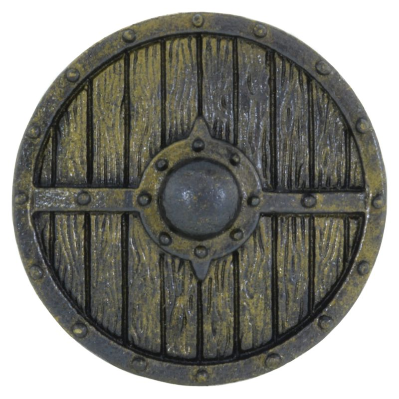 Viking Shield Cord Button in Brass With Black Patina by Covenant Everyday Gear