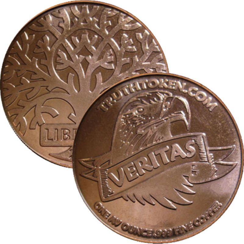 Veritas ~ Libertas (2009) 1 oz .999 Pure Copper Round