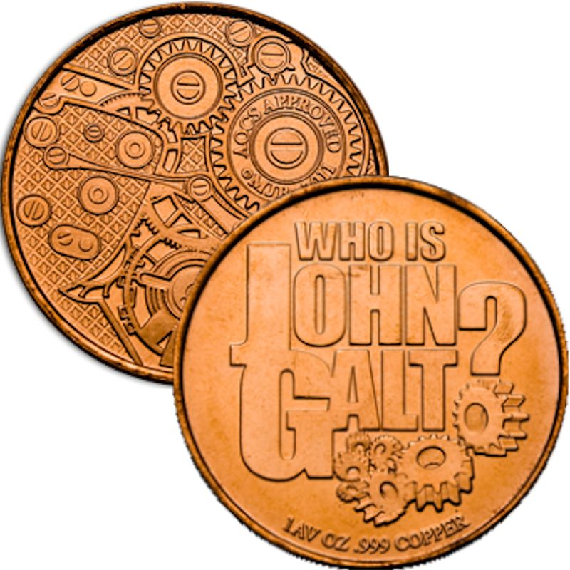 Who Is John Galt? - Global Gears (AOCS) (2011) 1 oz .999 Pure Copper Round