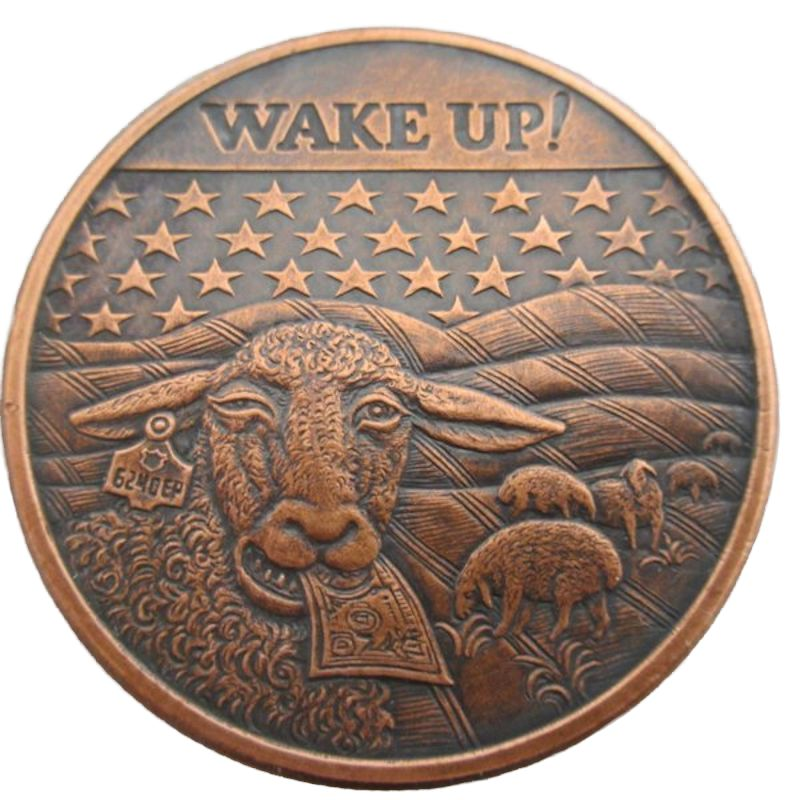 Wake Up! 1 oz .999 Pure Copper Round (Black Patina) (2014 - 2015)