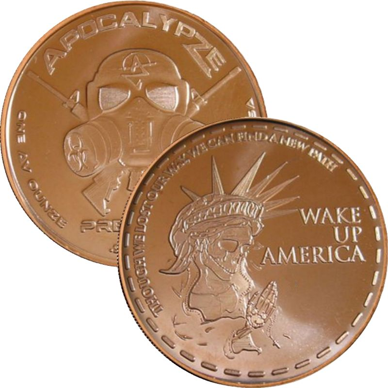 Wake Up America 1 oz .999 Pure Copper Round (11th Design of the ApocalypZe Series)