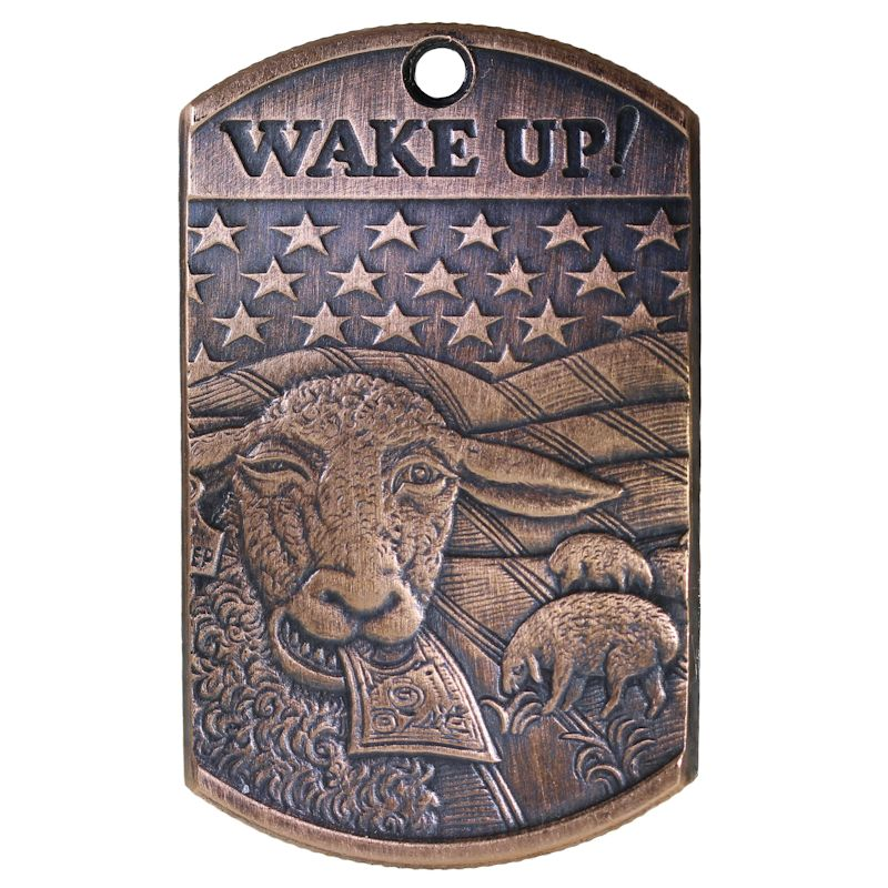Wake Up! Copper Dog Tag Necklace