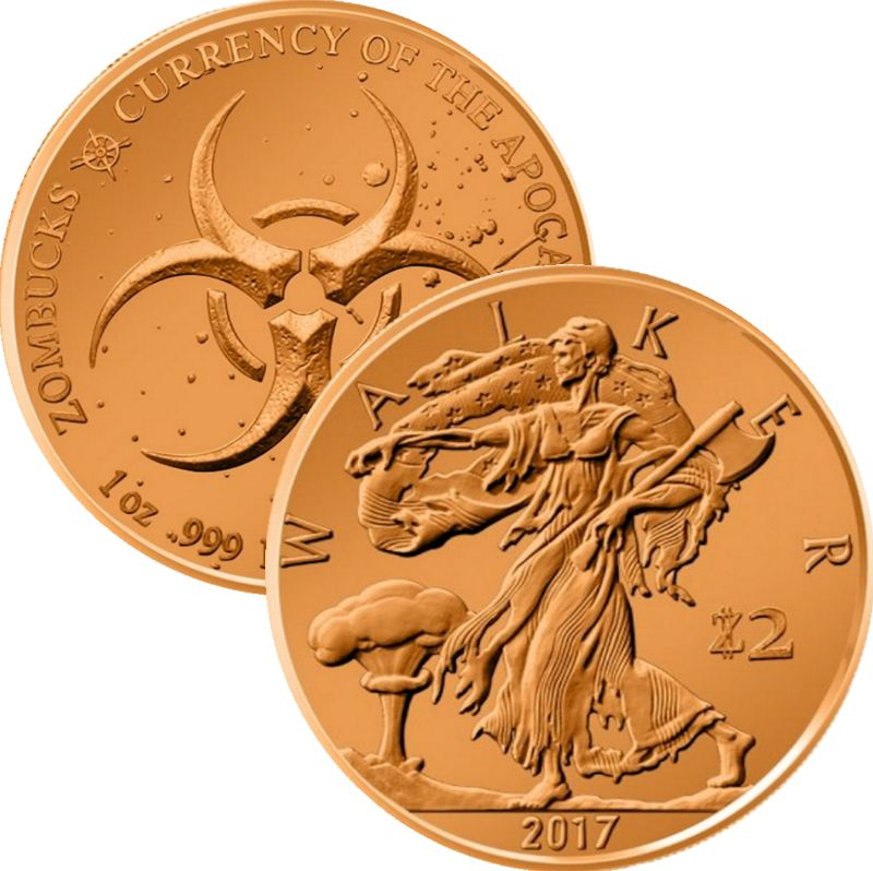 Walker 1 oz .999 Pure Copper Round (1st Design of the Zombucks Series)