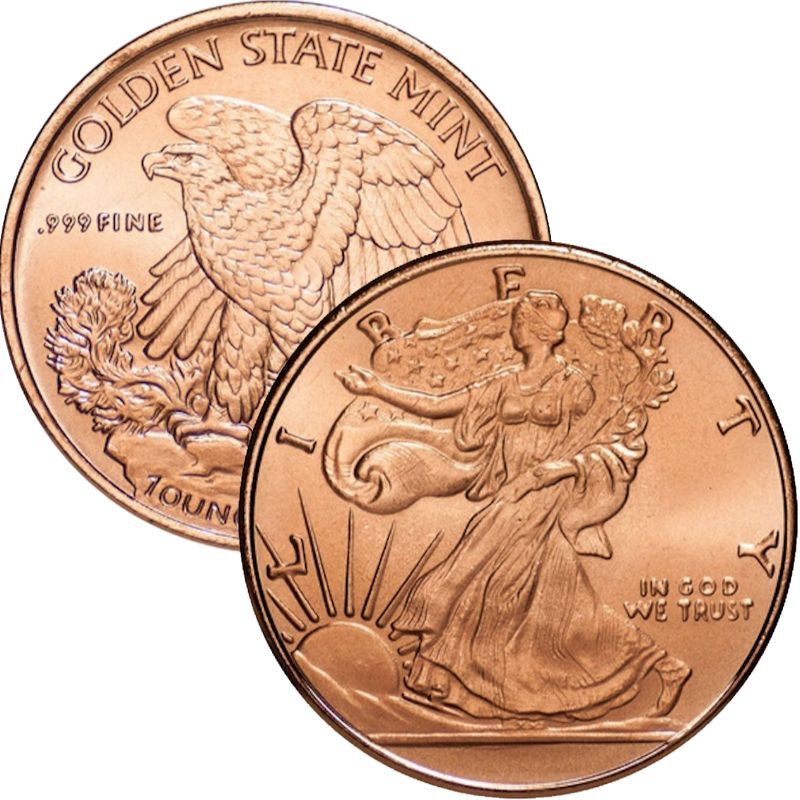 Walking Liberty 1 oz .999 Pure Copper Round (Golden State Mint)