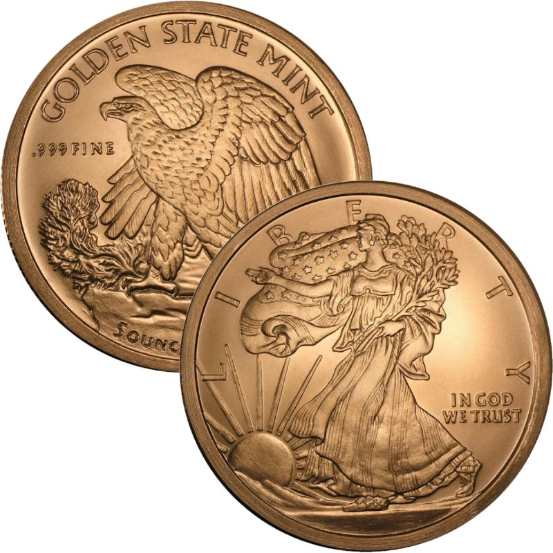 Walking Liberty Design 5 oz .999 Pure Copper Round