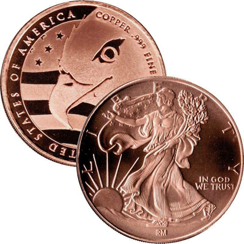 Walking Liberty Design (QSB Mint) 1 oz .999 Pure Copper Round