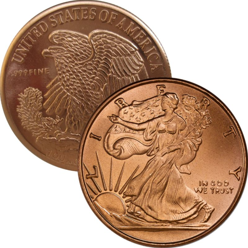 Walking Liberty - United States Of America - Eagle Back 1oz .999 1 oz .999 Pure Copper Round