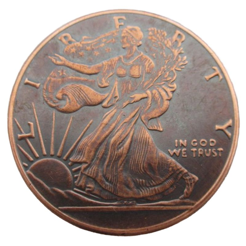 Walking Liberty 1 oz .999 Pure Copper Round (Golden State Mint) (Black Patina)