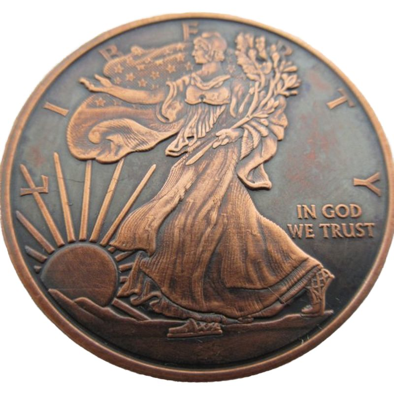 Walking Liberty 1 oz .999 Pure Copper Round (Presston Mint) (Black Patina)