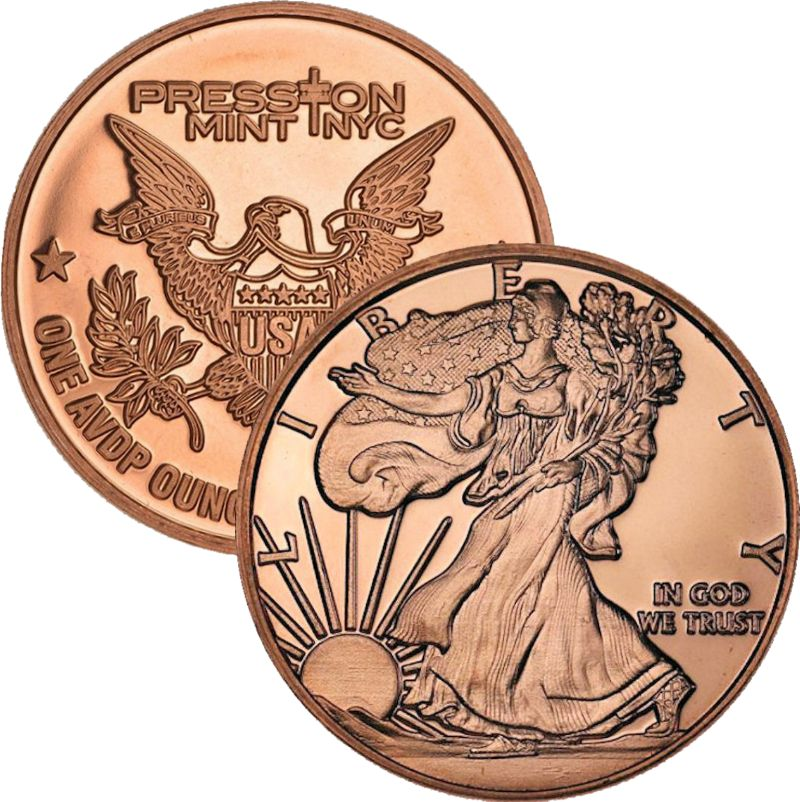 Walking Liberty 1 oz .999 Pure Copper Round (Presston Mint)