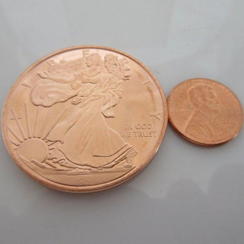 Copper Round  Presston Mint WALKING LIBERTY  Half Dollar 1 oz