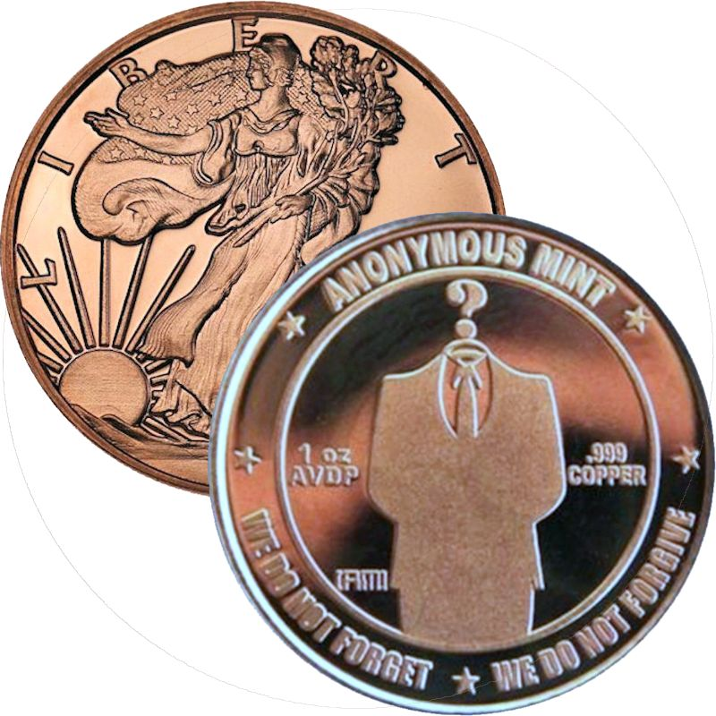 Walking Liberty / Faceless Man 1 oz .999 Pure Copper Round (Anonymous Mint)