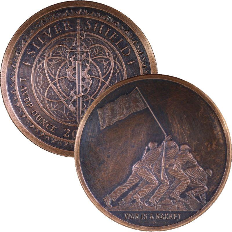 Copper Round  MINI MINTAGE  #50  Silver Shield  2018 WAR IS A RACKET  1 oz