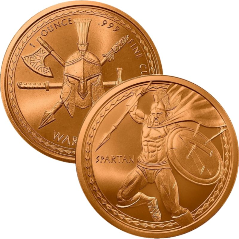 The Spartan #1 (Warrior Series) 1 oz .999 Pure Copper Round